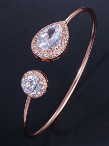 rose gold Brass Cubic Zirconia Water Drop Dainty Cuff Bangle