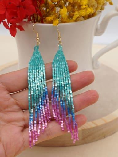 MI E210022A Stainless steel Miyuki beads Tassel Bohemia   Pure handmade Threader Earring