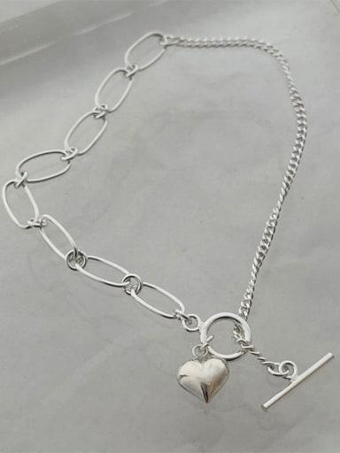 925 Sterling Silver Heart Minimalist Asymmetric chain  Anklet