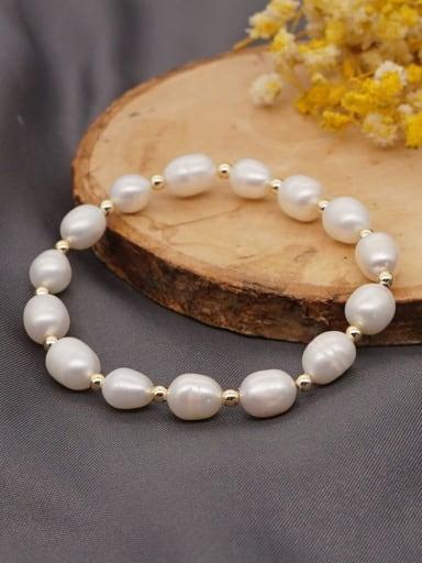 Stainless steel Freshwater Pearl Irregular Bohemia Stretch Bracelet