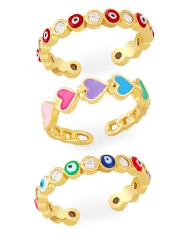 Brass Enamel Heart Minimalist Band Ring