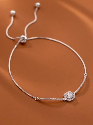 925 Sterling Silver Cubic Zirconia Geometric Minimalist Link Bracelet