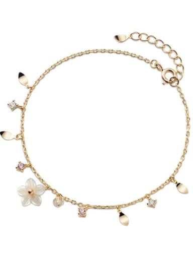 925 Sterling Silver Resin Flower Minimalist Bracelet
