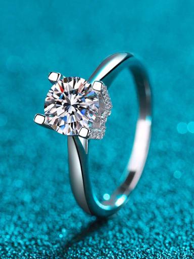 Sterling Silver Moissanite White Square  Engagement Rings