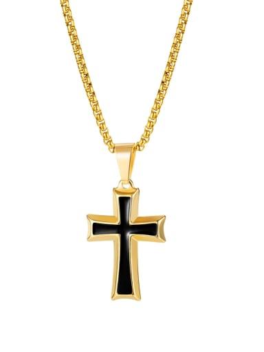 [golden pendant  chain 3*55cm] Titanium Steel Enamel Cross Hip Hop Regligious Necklace