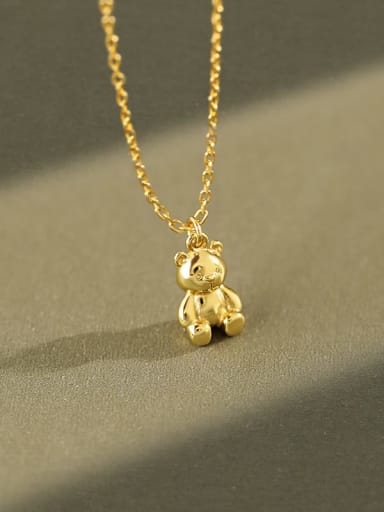 925 Sterling Silver Smooth  Bear Cute  Pendant Necklace