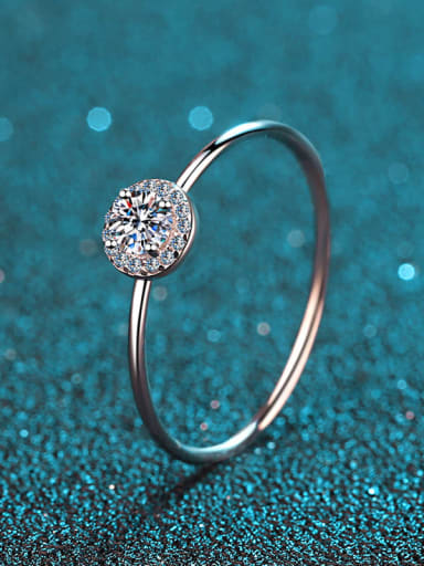 Sterling Silver Moissanite  Round Engagement Rings