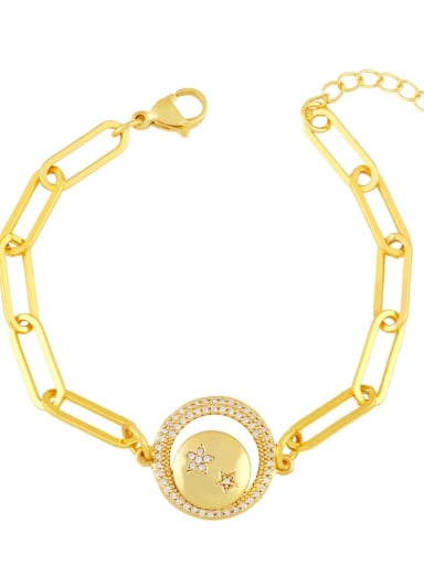 D Brass Cubic Zirconia Star Vintage Link Bracelet