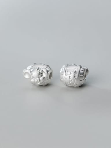 S999 2# 925 Sterling Silver With Geometric Zodiac Rat Beads  DIY Jewelry Accessories