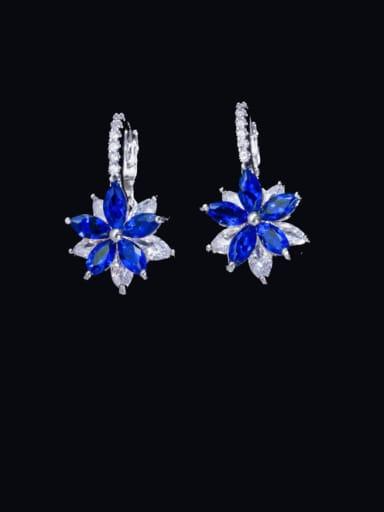 blue Brass Cubic Zirconia Flower Luxury Huggie Earring