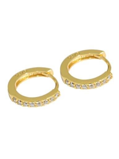 golden 925 Sterling Silver Cubic Zirconia Round Minimalist Huggie Earring
