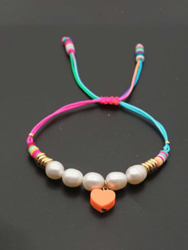 Stainless steel Freshwater Pearl Polymer Clay Heart Bohemia Adjustable Bracelet