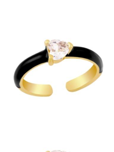 black Brass Enamel Cubic Zirconia Heart Minimalist Band Ring