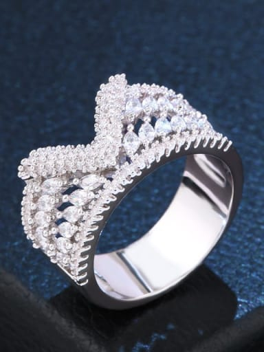 steel Brass Cubic Zirconia Irregular Statement Cocktail Ring