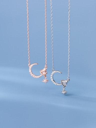 925 Sterling Silver Cubic Zirconia Moon Minimalist Necklace