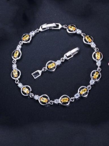 yellow Copper Cubic Zirconia Geometric Dainty Bracelet
