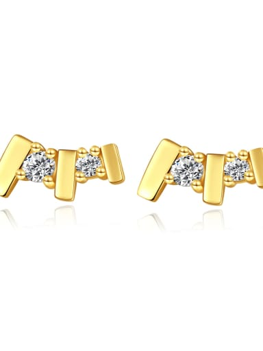 925 Sterling Silver Rhinestone Geometric Minimalist Stud Earring