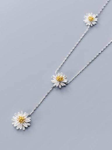 925 Sterling Silver Flower Minimalist Long Strand Necklace