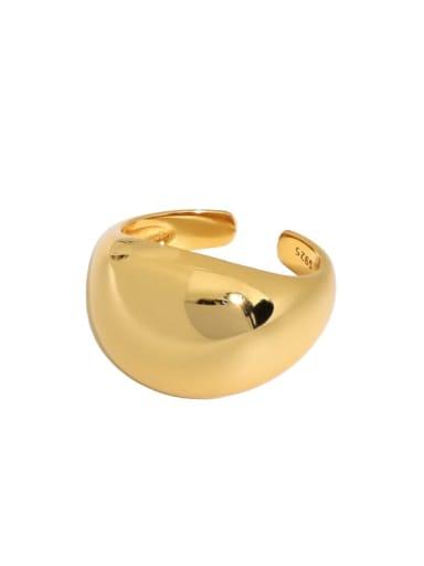 South Korea 18K gold [14 adjustable] 925 Sterling Silver Geometric Vintage Band Ring