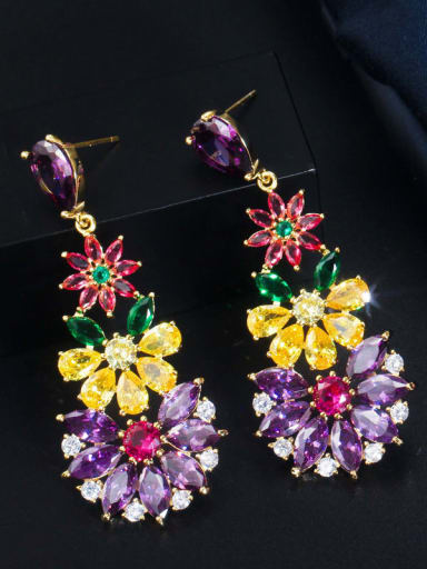 Gold colored stone Brass Cubic Zirconia Flower Luxury Cluster Earring