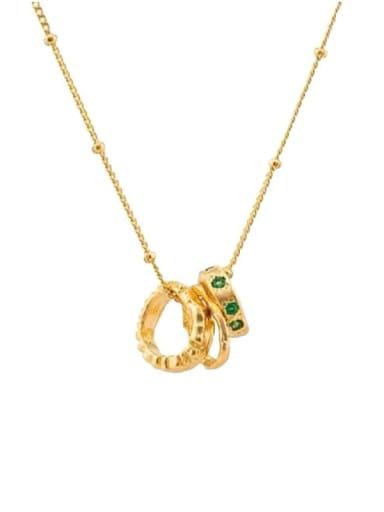 Copper Emerald Green Round Minimalist Choker Necklace