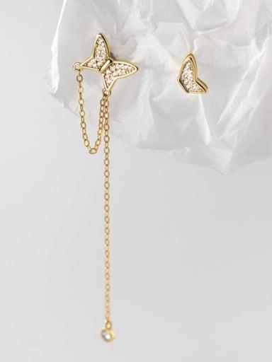 925 Sterling Silver Cubic Zirconia Tassel Minimalist Drop Earring