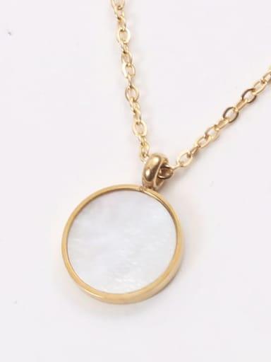 A gold n165 Titanium Steel Shell Geometric Minimalist Necklace