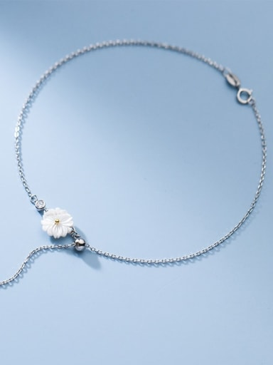 925 Sterling Silver Resin Flower Minimalist  Anklet