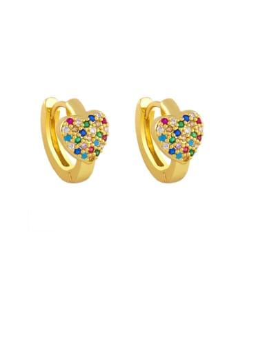 colour Brass Cubic Zirconia Heart Bohemia Stud Earring