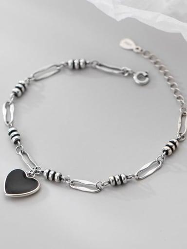 925 Sterling Silver Acrylic Heart Hip Hop Link Bracelet