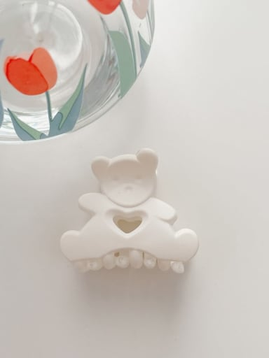 Frosted white 4.5cm Alloy Resin Cute Little bear  Jaw Hair Claw