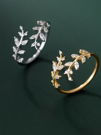 925 Sterling Silver Cubic Zirconia Leaf Minimalist Band Ring