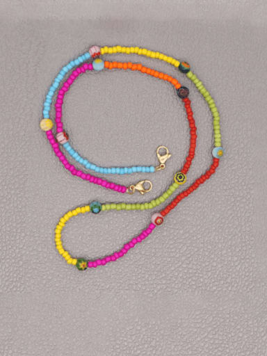 Stainless steel Bead Multi Color Weave Bohemia Hand-woven Necklace