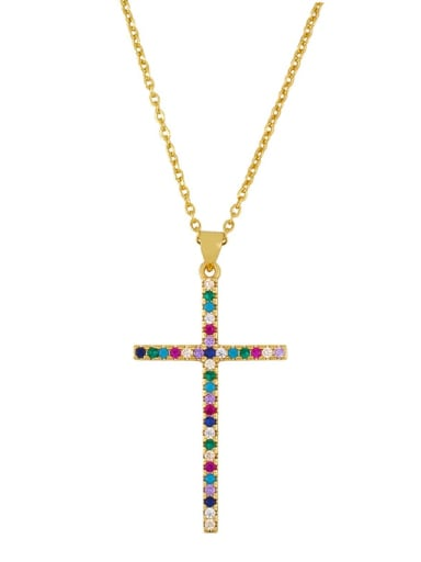 Zirconium Brass Cubic Zirconia Cross Minimalist Necklace