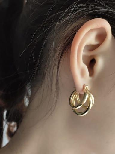 925 Sterling Silver Round Vintage Three Ring Earrings (Single) Hoop Earring