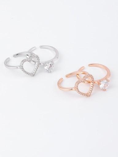 Brass Rhinestone White Heart Minimalist Stackable Free Size Ring