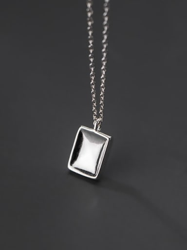 925 Sterling Silver Smooth Geometric Minimalist Necklace