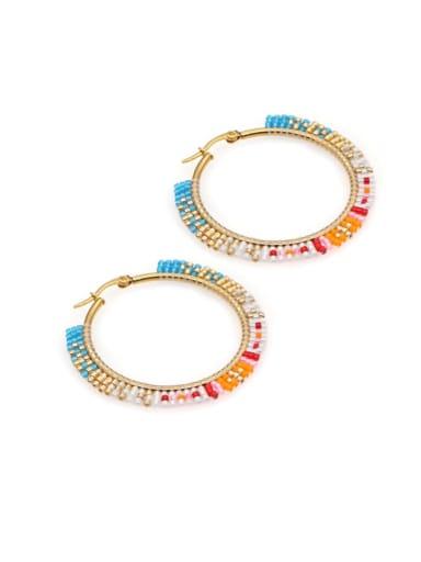 Stainless Steel Multi Color Miyuki Beads Geometric Bohemia Pure Handmade Earring