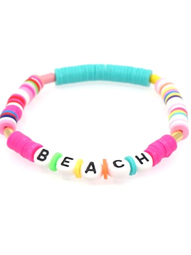QT B200011E Stainless steel Multi Color Polymer Clay Letter Bohemia Stretch Bracelet