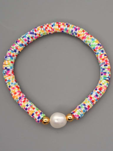 ZZ B200117D Stainless steel Multi Color Polymer Clay Geometric Bohemia Stretch Bracelet