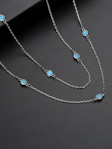 Blue t10d23 Copper Cubic Zirconia  Minimalist China Long Strand Necklace