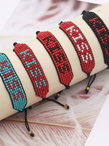 Stainless steel Bead Multi Color Geometric Bohemia Handmade Weave Bracelet