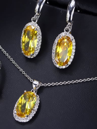 Gold  US 6 Brass Cubic Zirconia  Luxury Oval Earring Ring and Necklace Set