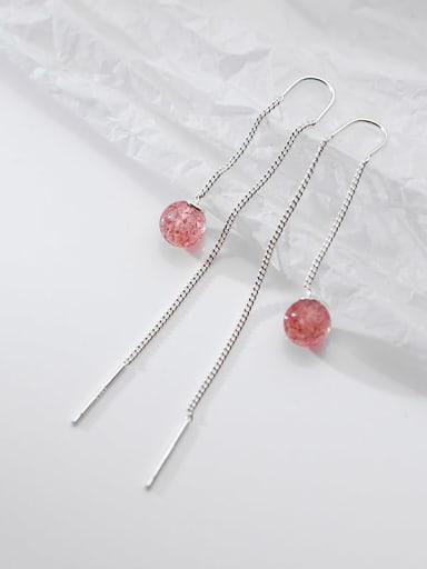 925 Sterling Silver Garnet Tassel Minimalist Threader Earring