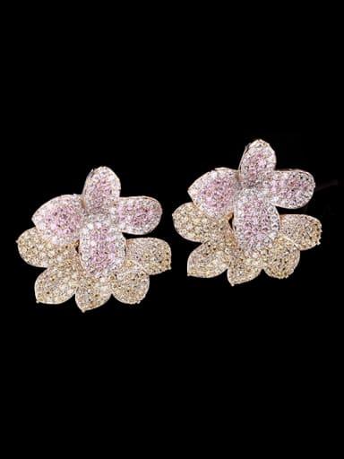 pink Brass Cubic Zirconia Flower Luxury Cluster Earring