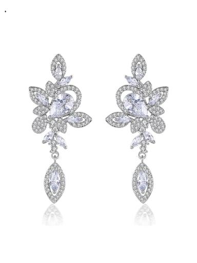 Brass Cubic Zirconia Flower Luxury Drop Earring
