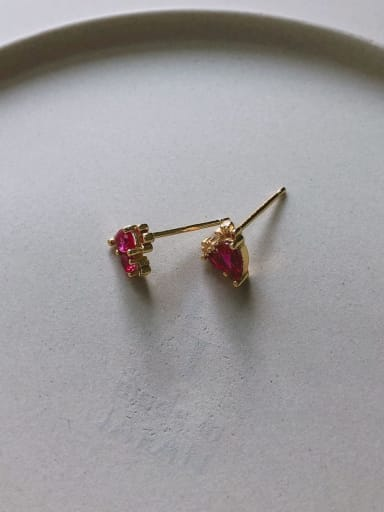 Water drop red drilling stud in c615 925 Sterling Silver Cubic Zirconia Red Geometric Cute Stud Earring