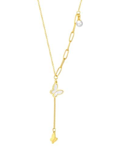 2042 gold necklace Titanium Steel Shell Tassel Minimalist Butterfly Lariat Necklace