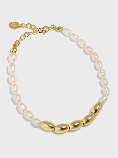 925 Sterling Silver Freshwater Pearl Water Drop Vintage Beaded Bracelet