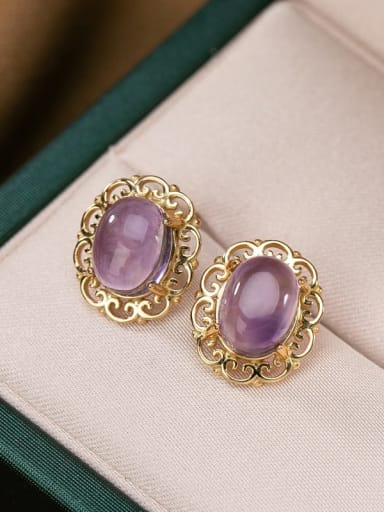 Gold plated earrings 925 Sterling Silver Amethyst Dainty  Heart Pendant